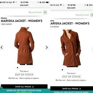 PrAna large burnt orange Mariska Jacket